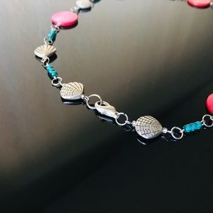 Mermaid pink teal and seashells necklace